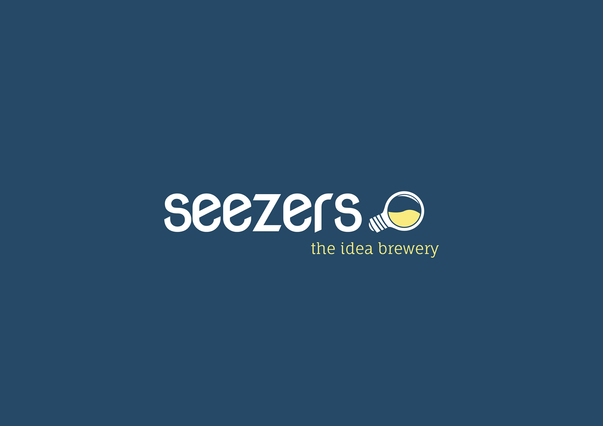 Seezers logo in white on blue